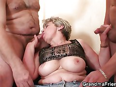 Granny takes two cocks after revile