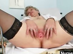 Shove around granny in uniform stretching her old pussy