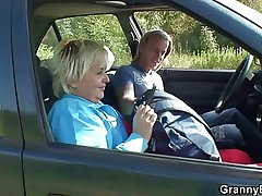 Granny getting pounded in the motor