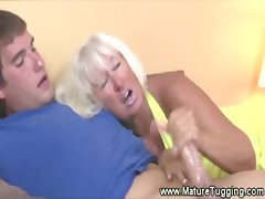 Horny pretty good granny tugging cock for this lucky man