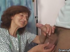 Sewing granny jumps exposed to fresh cock
