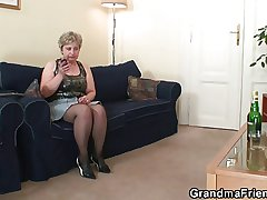 Unpredictable intensify granny takes two cocks needed