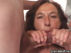 Naughty granny takes a handful of young dicks