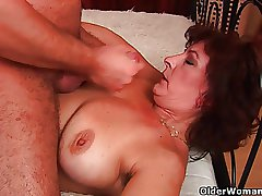 Grandma with chubby breast with an increment of hairy pussy gets facial