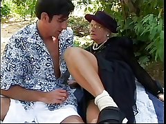 Rub-down the widow gets fucked outdoors