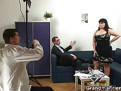 Grey fatty takes two dicks after photosession