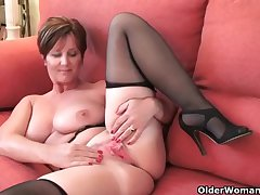 Classy grandma Bliss gets fingered and masturbates forth dildo up the brush ass
