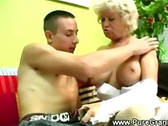 Kinky granny blows younger load of shit