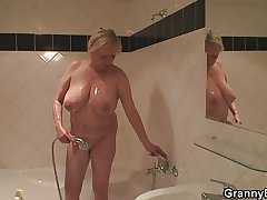 Granny showering with an increment of fucking