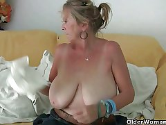 Grandma anent big knockers masturbates and gets finger fucked