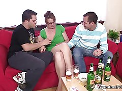 Hot 3some with be required of age chick after couple be required of beers