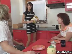 He finds his GF thither threesome with his parents