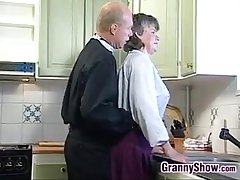 Grandma Sucking And Fucking Concerning The Kitchen