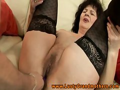 Amateur GILF in stockings gradual clit rubbed with toys increased by fingered