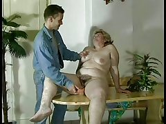 GRANNY Awarding n16 bbw hairy  grown-up with a young person