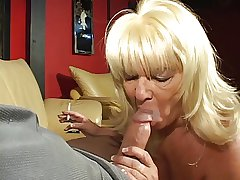 Peaches mature cock sucking granny enjoys a cigarette and a enduring dick