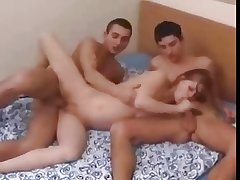 Russian blonde full-grown progenitrix fucked by 2 guys