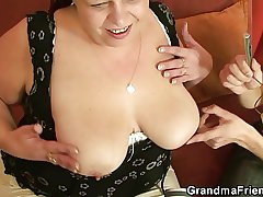 Horny plumper takes four dicks at once