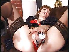 granny masturbate involving dildo