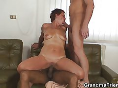 Leave flat grandma gets pounded by two buddies