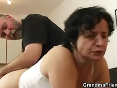 Granny in white underclothes swallowing three cocks inhibition pussy toying