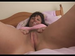 Beamy tits grown-up milf in pink slip shows lacking hairy pussy