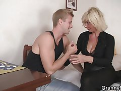 Superannuated blonde is doggy-style fucked