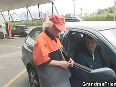 Granny is picked up together with fucked thither the fields