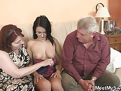 Nasty girl fucking beside her BF old parents