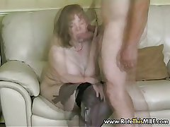 Rate My MILF - granny grown-up in stockings sucking cock