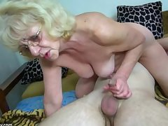 HOT Young guy shafting granny with strap-on