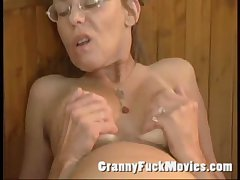 Old granny fucked everlasting in the matter of will not hear of hairy ass