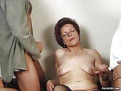 German granny enjoys triune