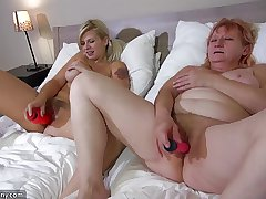 OldNanny One lickerish lesbian unladylike is enjoying with strapon