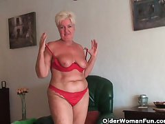 Chubby granny nearly saggy big tits and chesty ass masturbates