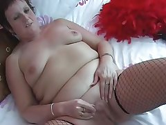 Granny in Fishnets Strips increased by Fingers