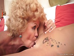 Old and young lesbians having fun