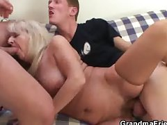 Drunk flaxen-haired granny in hot triptych orgy