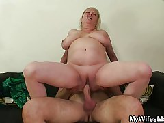 Cock stimulated old woman jumps on her son-in-law cock