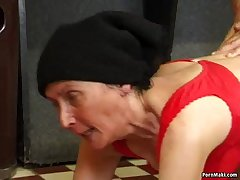 Hairy granny fucked on the come together table