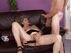 granny gets throw a monkey wrench into the machinery toying pussy