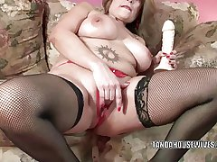 Mature slut Sandie Marquez stuffs her pussy with a plaything