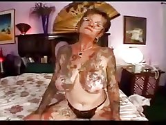 hot coitus with tattooed granny