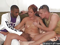 Interracial trilogy orgy with granny