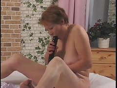 Tasteless grandma getting the brush venerable pussy fucked with a dildo by young manhood