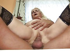 Chubby blonde granny (German)