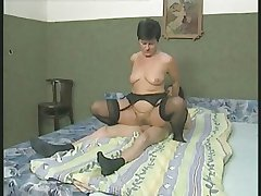 Flimsy Granny down Stockings Fucks the Boy
