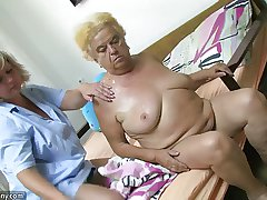 Mature woman using dildo upstairs chubby granny