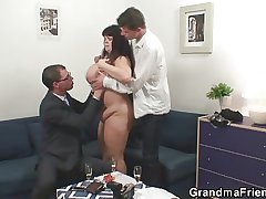 Four guys shagging patriarch BBW lady