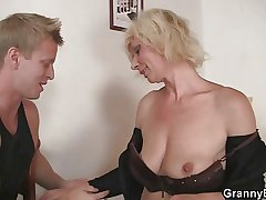 Elderly blonde is doggystyle fucked